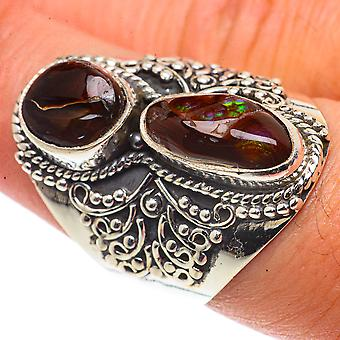 Large Mexican Fire Agate Ring Size 8 (925 Sterling Silver)  - Handmade Boho Vintage Jewelry RING66819