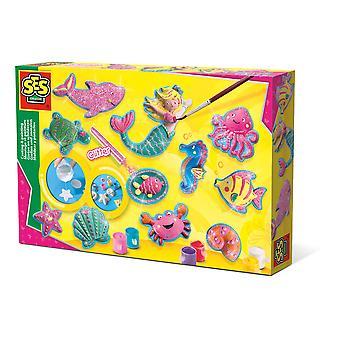 SES Creative - Barns hav figurer gjutning och målning set 5-12 år (flerfärg)
