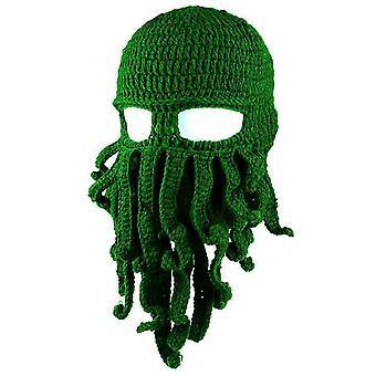 Καπέλο χταποδιού αστείο μασκοφόρο χειροποίητο κροσέ μάλλινο ζεστό καπέλο (πράσινο)