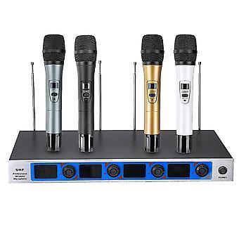 Professional 4 Channel 4 Cordless Handheld Mic UHF Wireless Microphone System Karaoke AU