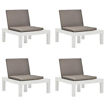 vidaXL puutarhatuolit tyynyillä 4 kpl. muovivalkoinen