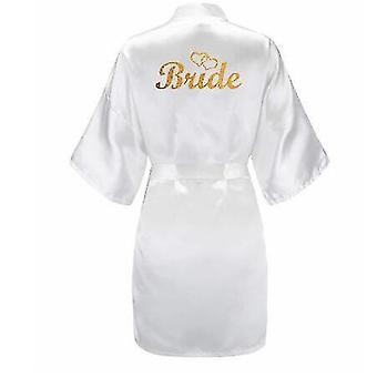 Robes glitter gold bride satin short bride robe slippers peignoir