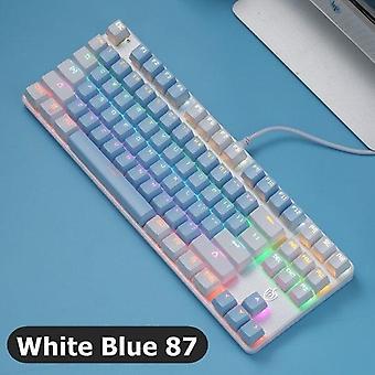 qwert Blå Mekanisk USB-trådad mekanisk tangentbord blandad bakgrundsbelysning med blandad färg keycap för hemmet