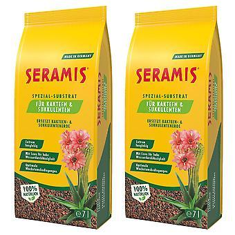 Glesaste: 2 x SERAMIS® specialsubstrat för kaktusar och suckulenter, 7 liter