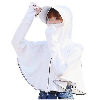 Is silke solbeskyttelse klær, uv beskyttelse sjal for sykling om sommeren (hvit)