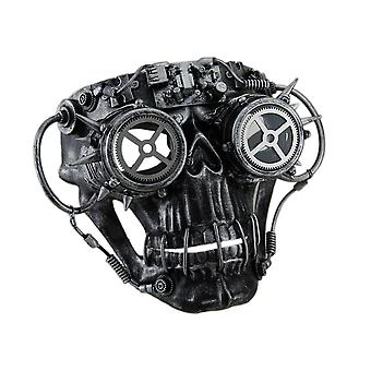 Steamskully Metallic Finish Steampunk Skull with Spiked Goggles Costume Mask