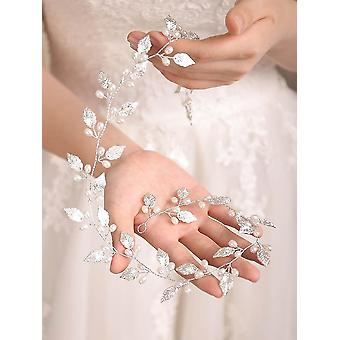 Bridal Wedding Leaf Pearls Headband Hair Vine - Hair Accessories