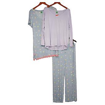 Honeydew Women's 3-Piece Pajama Set Novelty Heart Print Blue