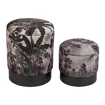 Footrest DKD Home Decor Grey Polyester Metal Palms (2 pcs)