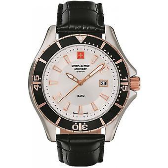 Swiss Alpine Military Black Genuine Leather 7040.1552SAM Reloj de Hombre