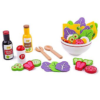 Toy kitchens play food wooden salad play set