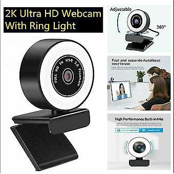 Webcams 2k hd autofocus usb 2.0 Webcam with led ring light 360 adjustable for pc/laptop