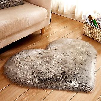 Herzförmige weiche Kunst-Schaffellfell-Teppiche (40x50cm Langer Samt) (Grau)
