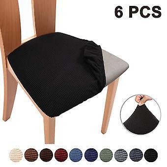 6pcsストレッチジャカードチェアシートカバー、取り外し可能な椅子シートクッション