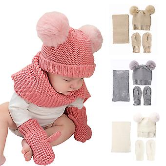 3pcs Baby Hats Scarf Gloves Sets Double Pompom Knitted Beanie Autumn Winter Warm Sets Baby's Christmas Gift