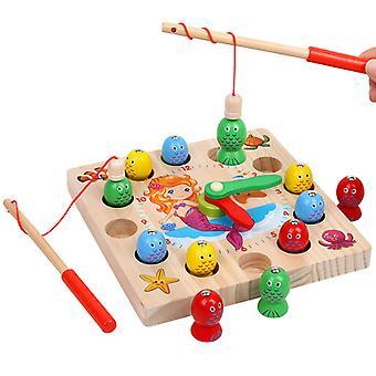 Children's Toy Mermaid Magnetic Digital Clock Fishing Kindergarten Games