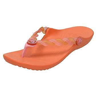女孩鳄鱼脚趾后凉鞋_apos;透明编织翻转女孩_apos;