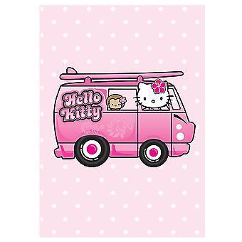 مرحبا كيتي الوردي بولكا دوت العربة فإن بطاقة