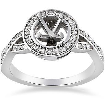 1 / 4ct алмазов участия Halo кольцо полу гору 14K Белое золото