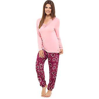 Ladies Wolf & Harte Kukka Pansy Painettu Pitkä Talvi Pyjama Pyjama Sleepwear - Pinkki - 12-14