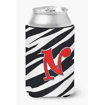 Letter N Initial Monogram - Zebra Red Can or Bottle Beverage Insulator Hugger