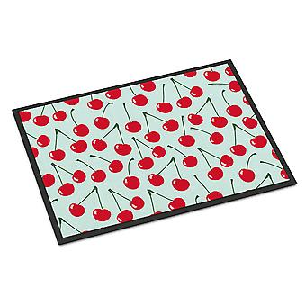 Carolines Treasures  BB5148JMAT Cherries on Blue Indoor or Outdoor Mat 24x36
