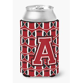 Letter A Football Red, Black and White Can or Bottle Hugger