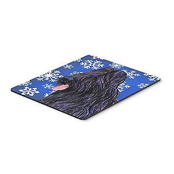 عطلة الثلج شتاء briard لوحة الماوس، ولوحة الساخن أو ترفة