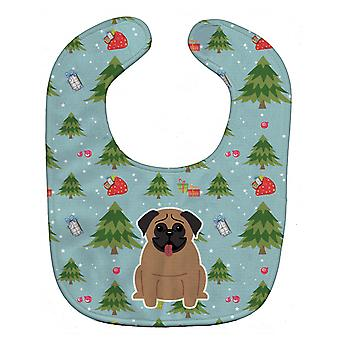 Carolines Treasures  BB4665BIB Christmas Pug Brown Baby Bib