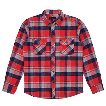 Brixton Bowery Long Sleeve Flannel Shirt Red Heather Navy