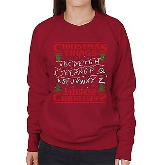 見知らぬものクリスマスのもの妖精のライト女性のスウェットシャツ