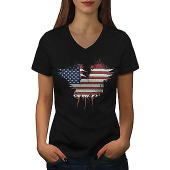 Flag Country American USA Women BlackV-Neck T-shirt | Wellcoda