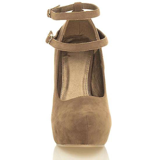 Ajvani womens haut talon caché plate-forme mary jane double sangles boucle Cour chaussures pompes