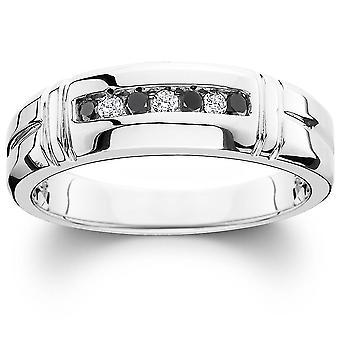 1 / 3ct svart & White Diamond Mens vigselring 10K vitt guld