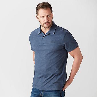 New Weird Fish Men's Short Sleeve Collar Neck Andy Polo T-Shirt Blue