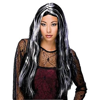 "24"" Long Witch Grey Ghost Gothic Day Of The Dead Sorceress Women Costume Wig"