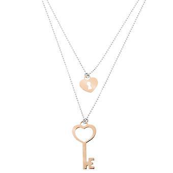 Orphelia argento 925 collana bicolore piccola chiave + serratura ZK-7185/1