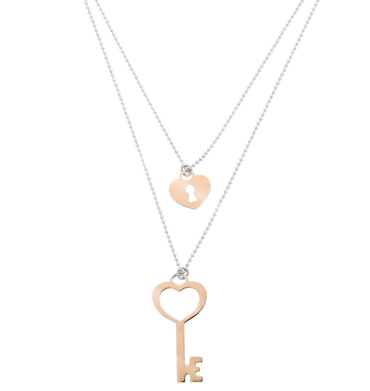 Orphelia Silver 925  Necklace Bicolor Small Key + Lock  ZK-7185/1