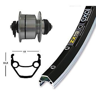 Bike parts 28″ Exal ZX 19 wheel + hub Dynamo DH 3 d 72 (QR) Shimano