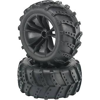 Reely 1:10 Monster truck pyörät äärimmäisen 5 double puhui musta 2 PCs()