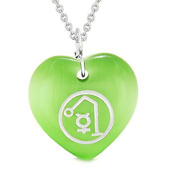 Archange Raphaël Sigil Magic Planet Energy amulette Puffy coeur vert simulé chats oeil 18 pouces collier