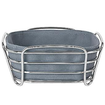 Bread basket small steel wire chrome cotton insert Flint Stone