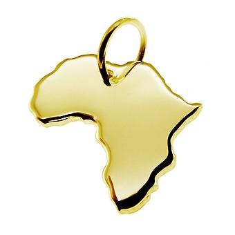 Trailer map pendants in gold yellow-gold in the shape of Africa