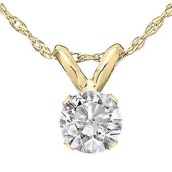 1/3 CT kabal rundt diamant anheng halskjede 18