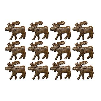 Rustic Brown 12 Piece Cast Iron Moose Drawer Pull Cabinet Knob Set