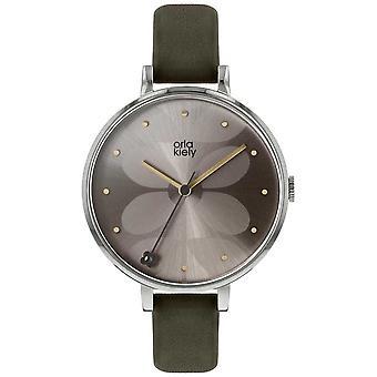 Orla Kiely | Las señoras Ivy | Caso de la plata | Correa oliva oscuro | Reloj OK2261