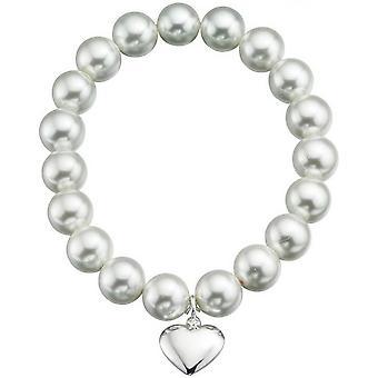 Początki powłoki perłowym sercem Stretch bransoletka - White/Silver