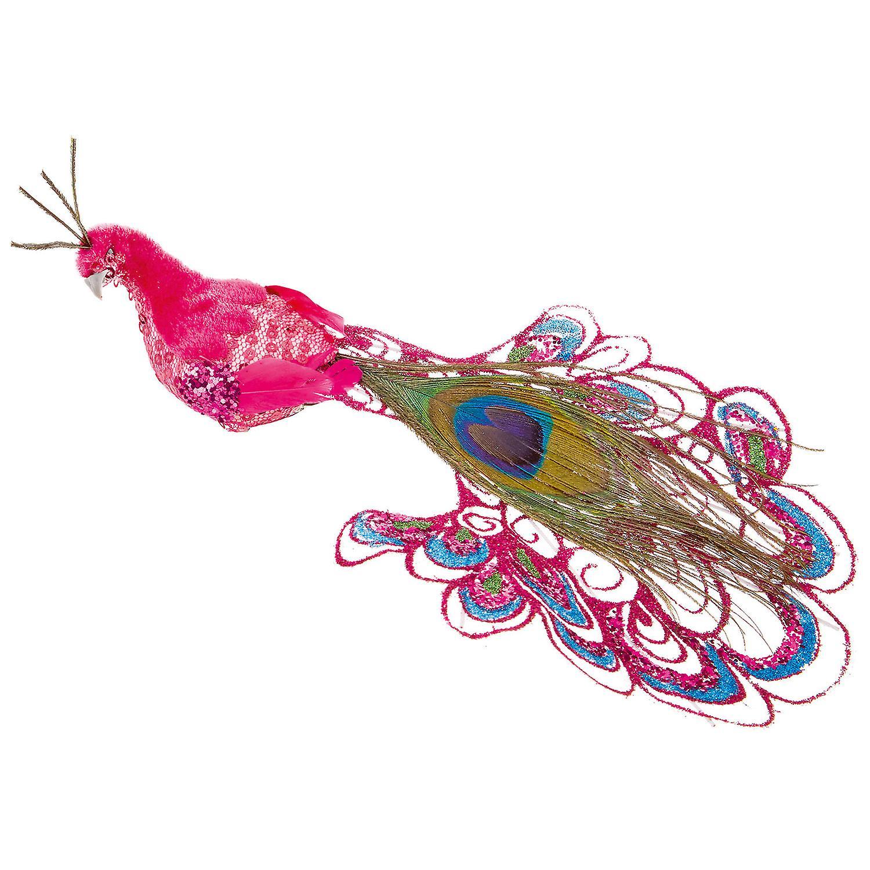 TRIXES Pink Peacock Xmas Tree Decoration 21cm Ornament