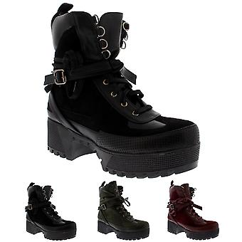 Womens Cleated Sole Block Heel Lace Up Fashion Block Heel Ankle Boots UK 3-10