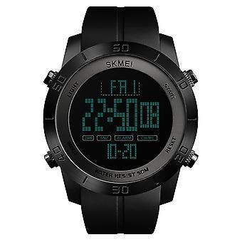 SKMEI Mens Large Display Digital Watch Sleek Cool Resin Strap Stopwatch Alarm Countdown Dual Time DG1353